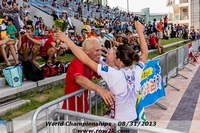 Hedstrom and Bertko of the USA LW2x greet coach Stomporowski following their silver medal performance - Click for full-size image!