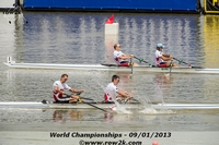 The USA M2x caught a break in the B Final when the Danish crew crabbed 10 meters from the finish - Click for full-size image!